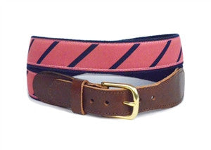 A lillie Design exclusive, preppy nantucket red and navy stripe canvas and ribbon belt sold only on line with lillie.