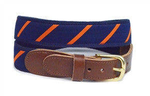 A lillie Design Exclusive, Mens Preppy navy and orange stripe ribbon belt as seen on the syracuse campus