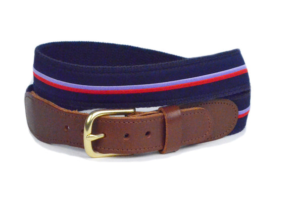 Mens Ribbon Belt: Preppy Stripe Ribbon Belt - Designs by Lillie
