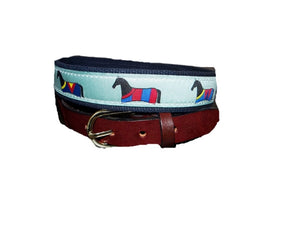 The Horse Balanket ribbon belt for men is a Lillie Design exclusive. Shop with Lillie and get yours on line.