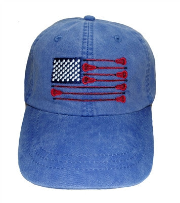 Lillie Design  American Flag Lacrosse Embroidered Baseball Cap