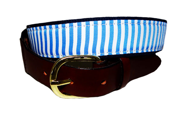 Classic preppy light blue and white stripe ribbon belt for men. Great for a monogram
