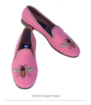 Misses Hand Stitched Needlepoint Loafer Bees on Shrimp