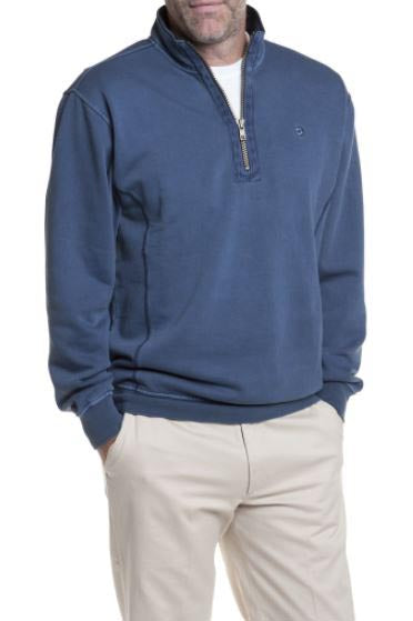 Men's Quarter Zip Pull Over Sweatshirt By Castaway Clothing -Nantucket Navy| Designs by Lillie