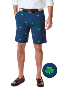 Men's Cisco Stretch Twill Preppy Embroidered Shorts Shamrock on Navy