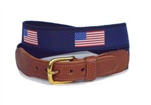 Men's love to wear a American flag ribbon belt  in red white and blue