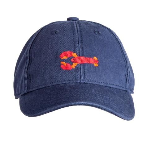 Kids Needlepoint Baseball Caps Lobster on Navy