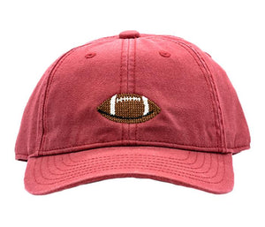 Kid's Needlepoint Baseball Cap Football Weathered Red