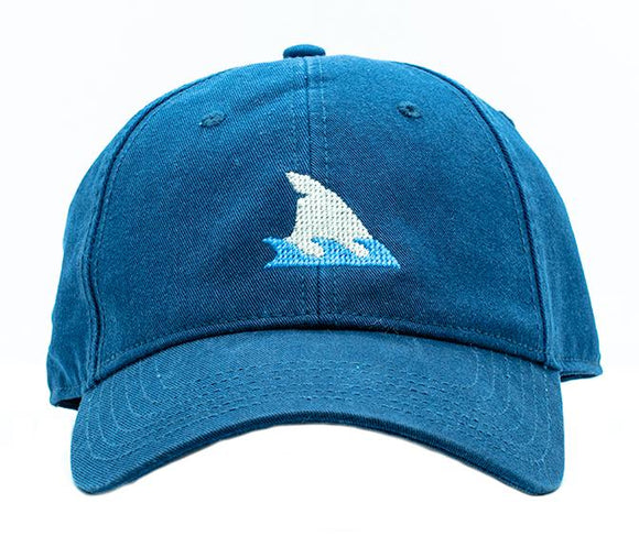 Kids Needlepoint Cap  Shark  Fin on Navy