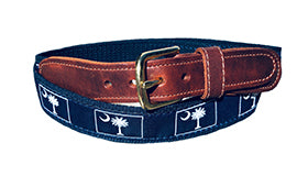 Men's Custom Canvas Ribbon Belt Palmetto Moon| Designs by Lillie