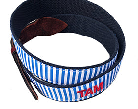 Blue and White Strip Monogrammed Belt |Designs by Lillie