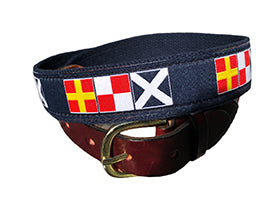 Men's Custom Canvas Ribbon Belt Nautical Letters spells RUM