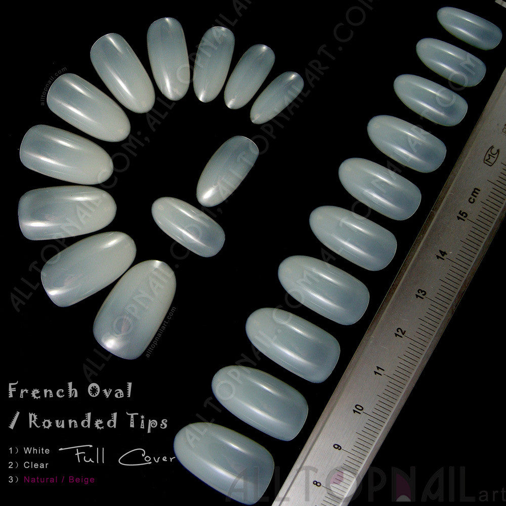 French Oval / Rounded Acrylic Artificial False Nail Tips 100x ...