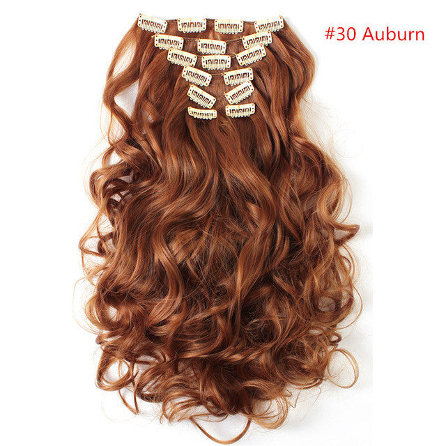 Sarla 20 7pcs Full Head Curly Clip In Hair Extensions Synthetic