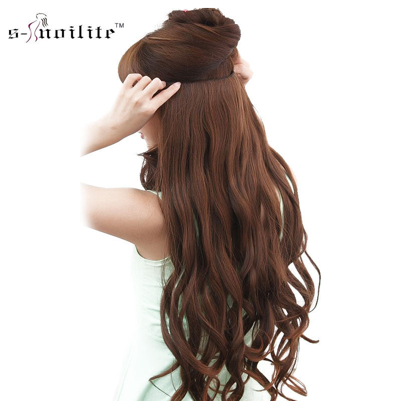 Snoilite 5 Clips On Curly Hairpiece Clip In Hair Extensions Heat