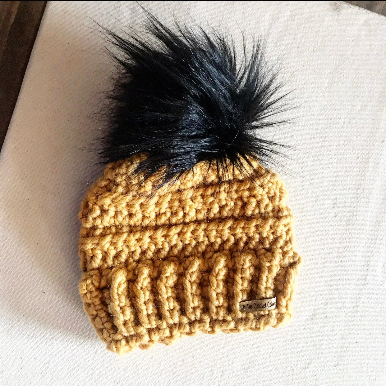 Infant/Toddler Lennox Beanie-Mustard with Black Pom