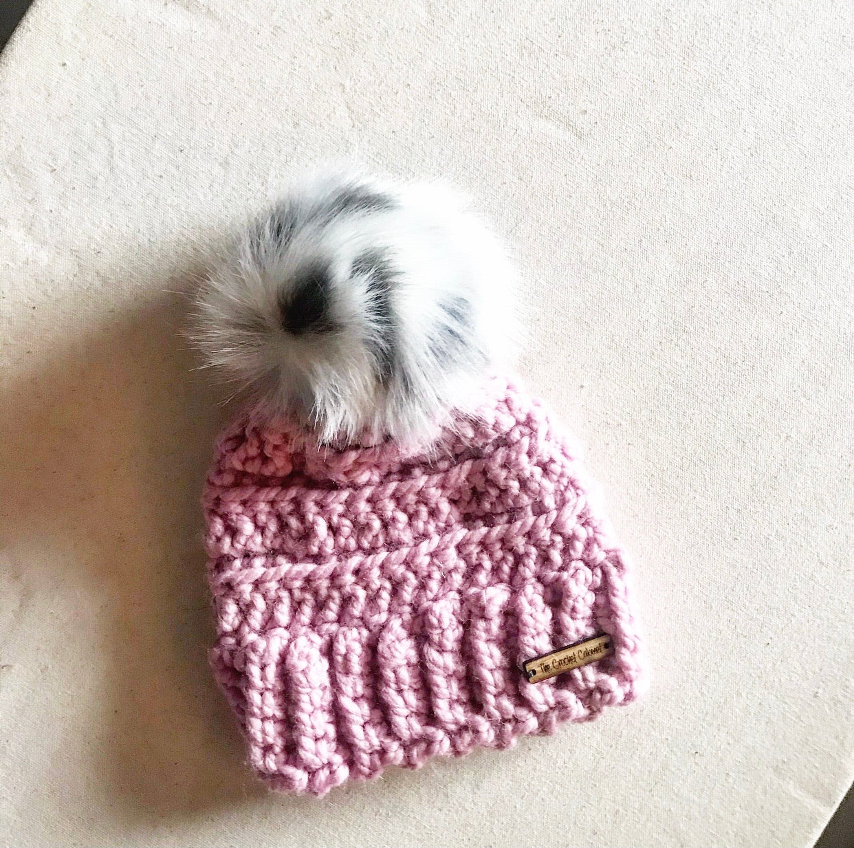 Infant Lennox Beanie- Blush with white leopard pom