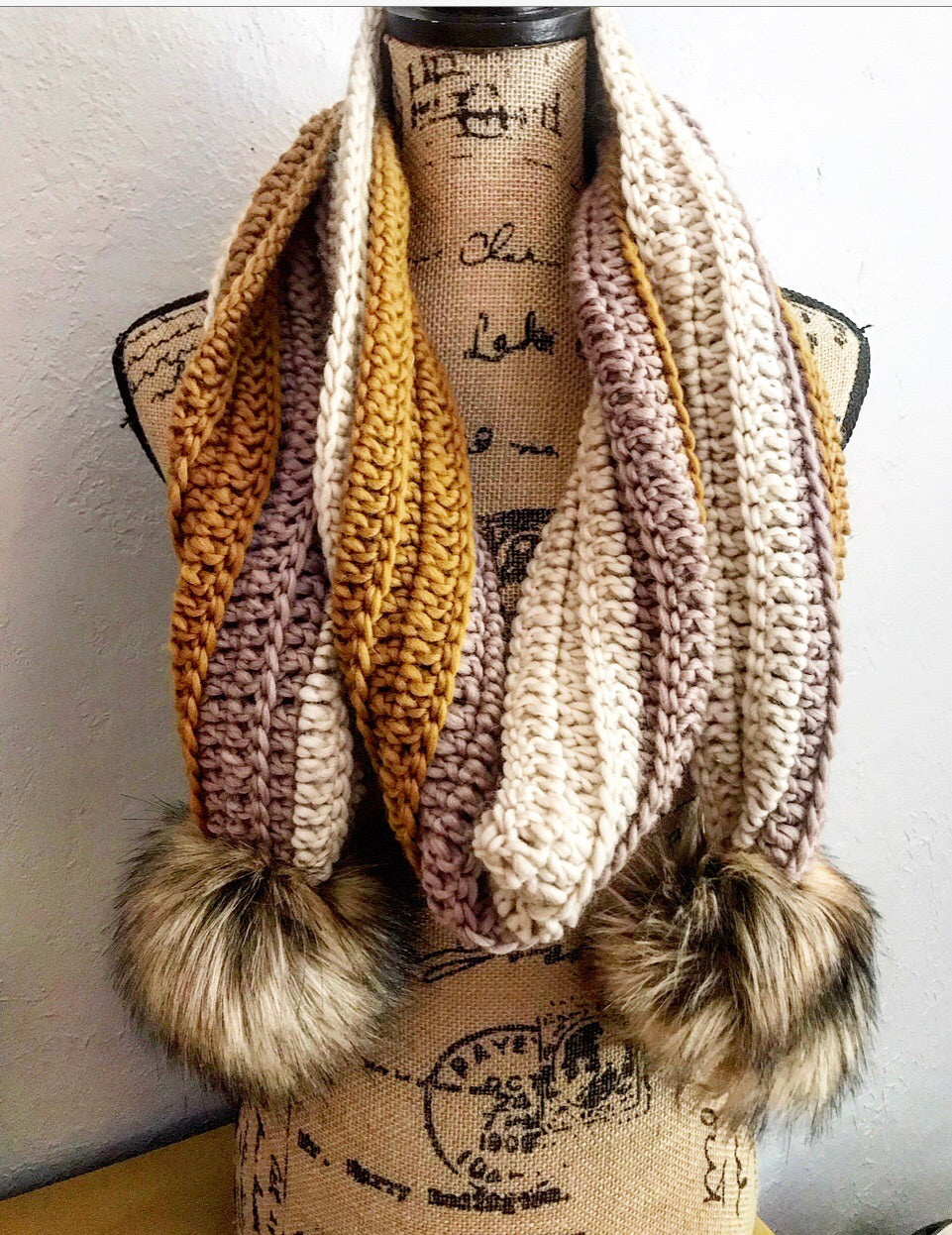 Adult Evie Scarf/Blush, Mustard, Ivory