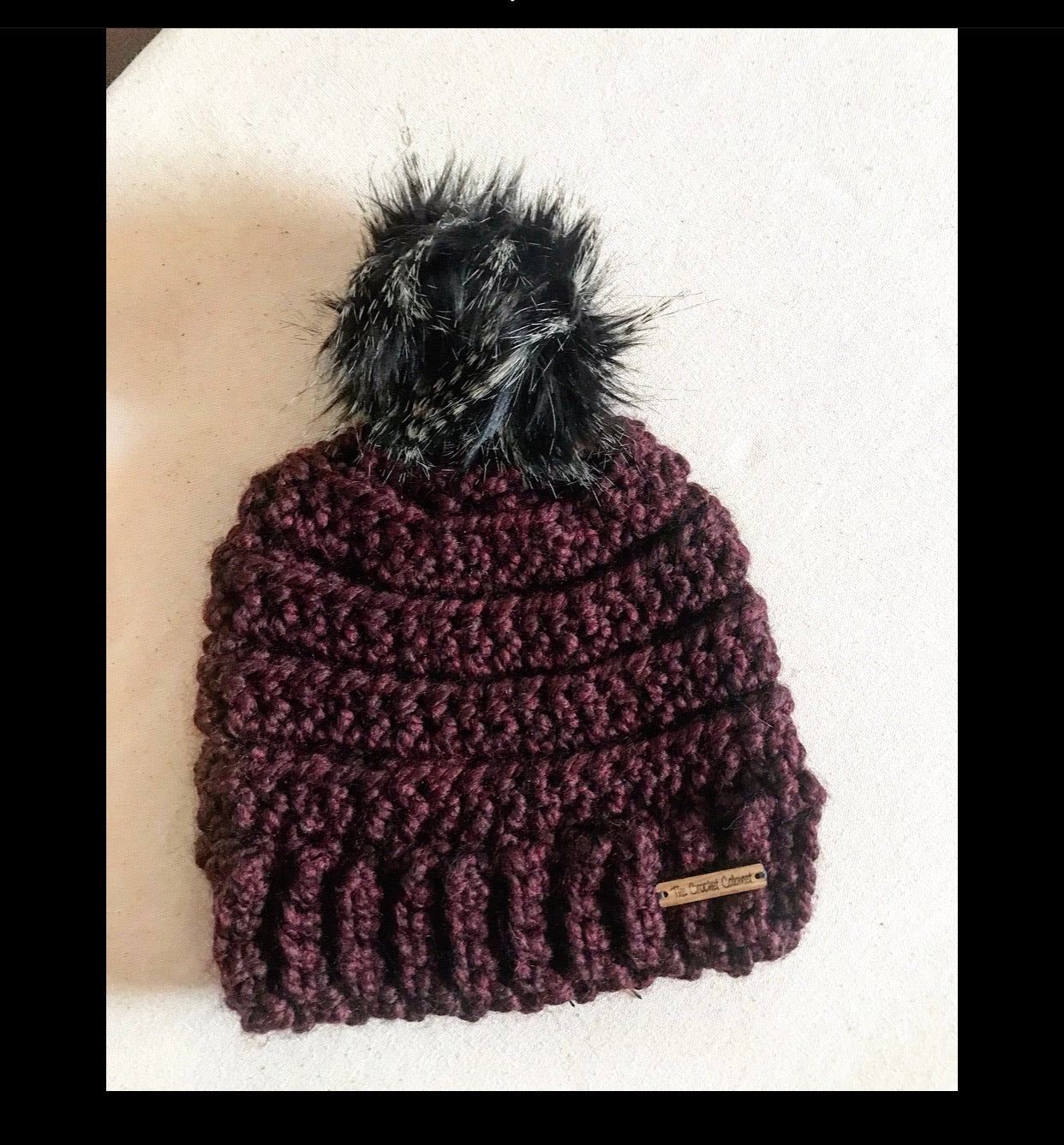 Adult Lennox Beanie- Merlot with black spotted pom