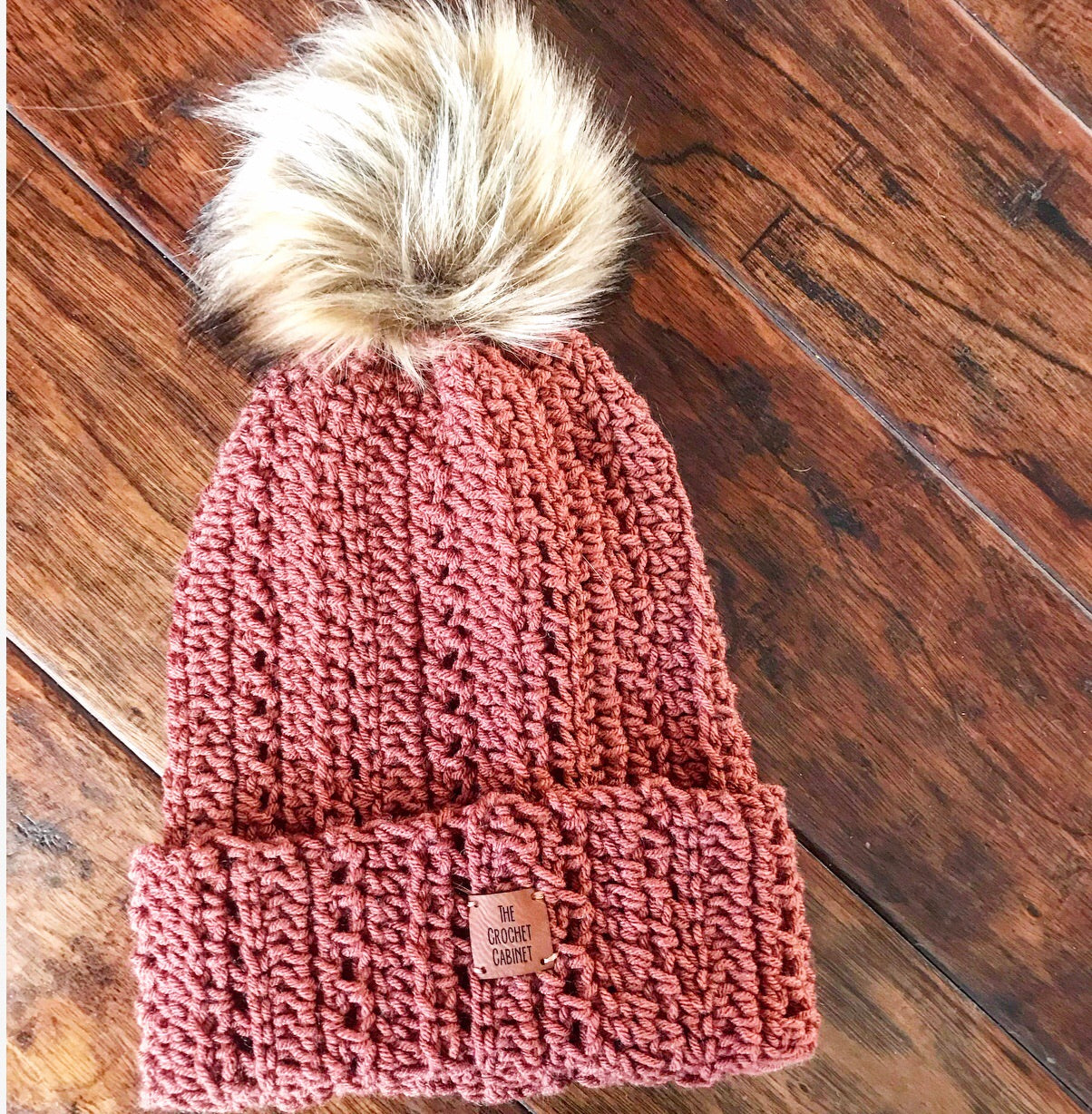 Adult Harlynn Beanie with Pom-Dusty Coral