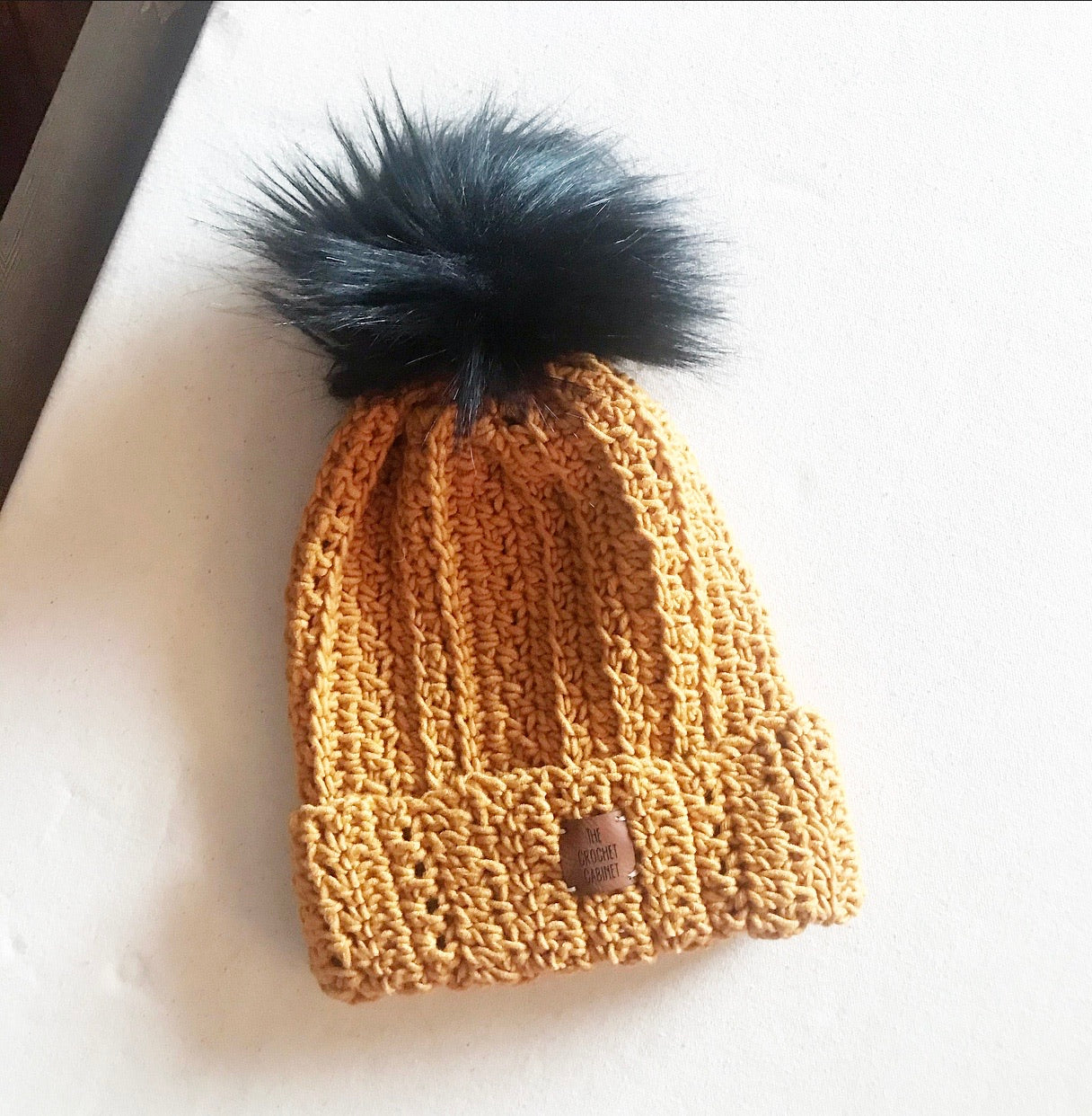Child/Small Adult Harlynn Beanie- Mustard with black pom