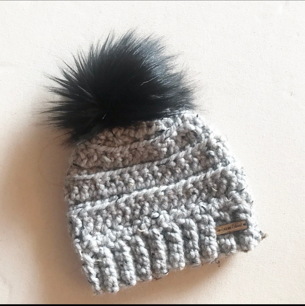 Child Lennox Beanie- Gray Tweed with black pom