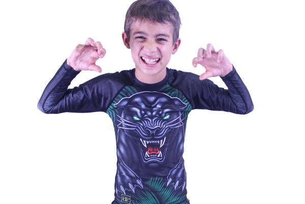 Break Point - Kids Black Panther Rash Guard