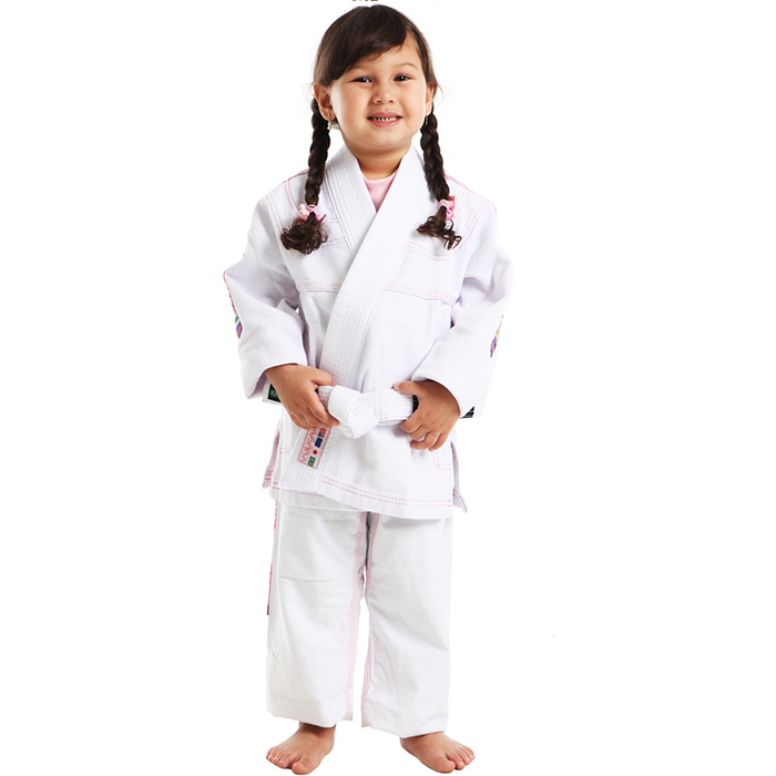 Vulkan - Ultra Light Kids Jiu Jitsu Gi - White/Pink - Jitsu Armor