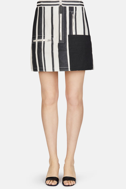Hilaria Stripe Zip Mini Skirt - Black Stripe