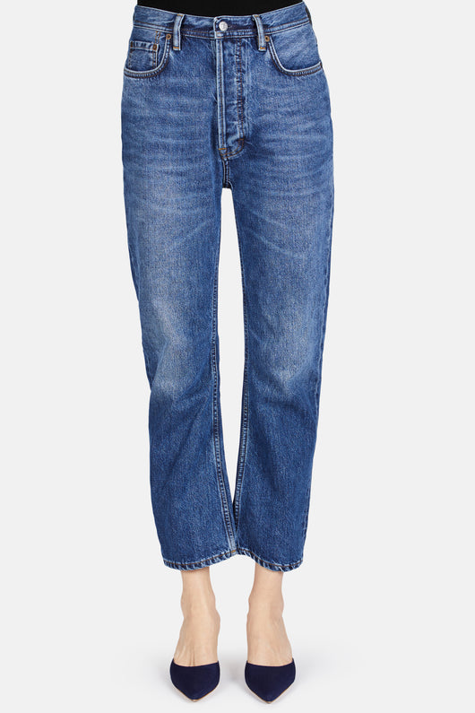 Log Straight Leg Jean - Mid Blue