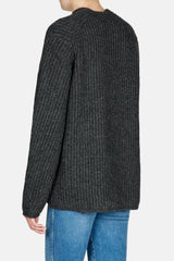 Deborah V Neck Chunky Rib Sweater - Dark Grey