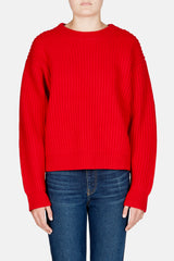 Long Sleeve Crewneck Chunky Rib Sweater - Red