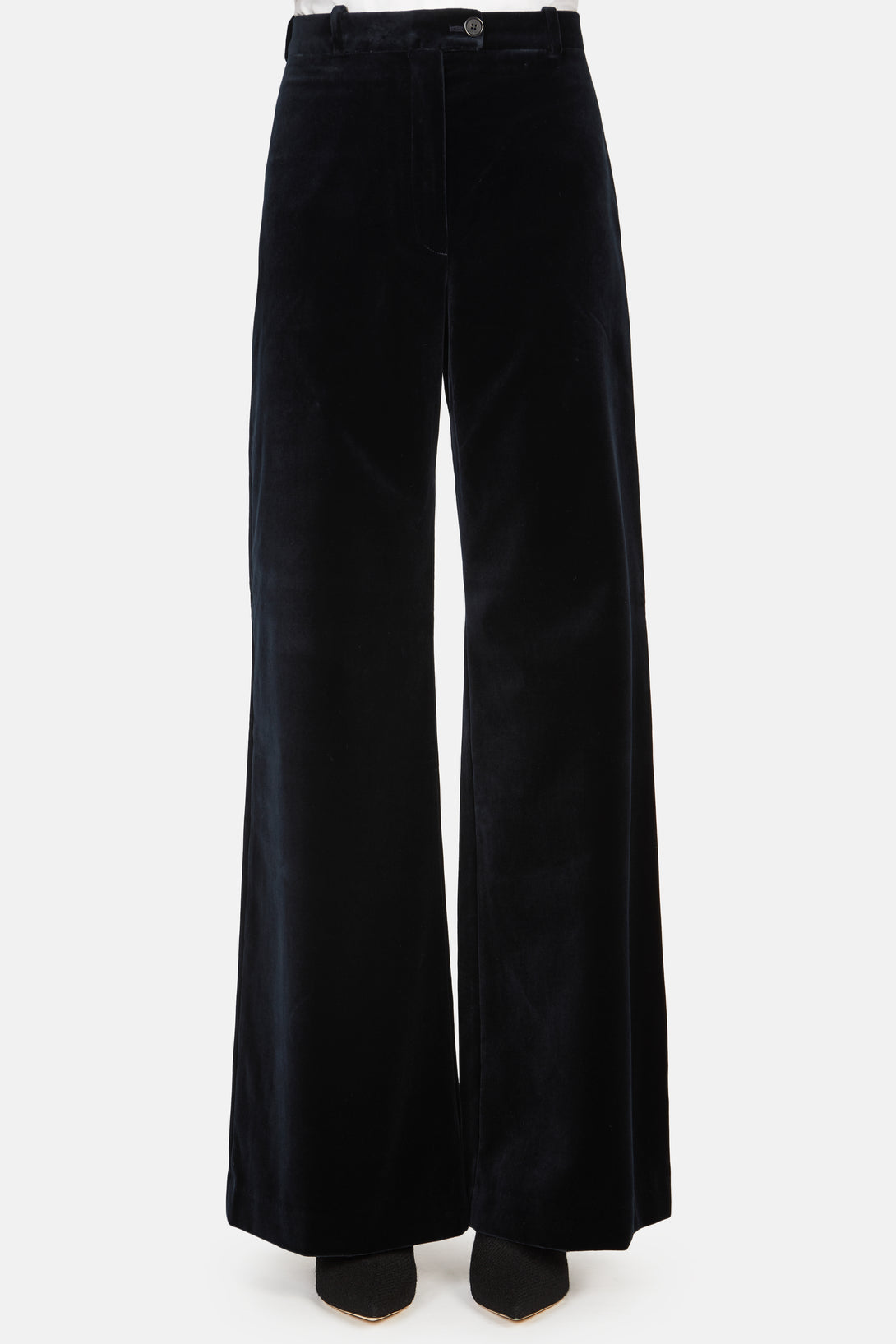 High Waisted Velvet Wide Leg Pant - Navy Blue