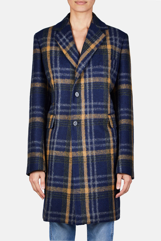 Check Collared Coat - Blue Brown
