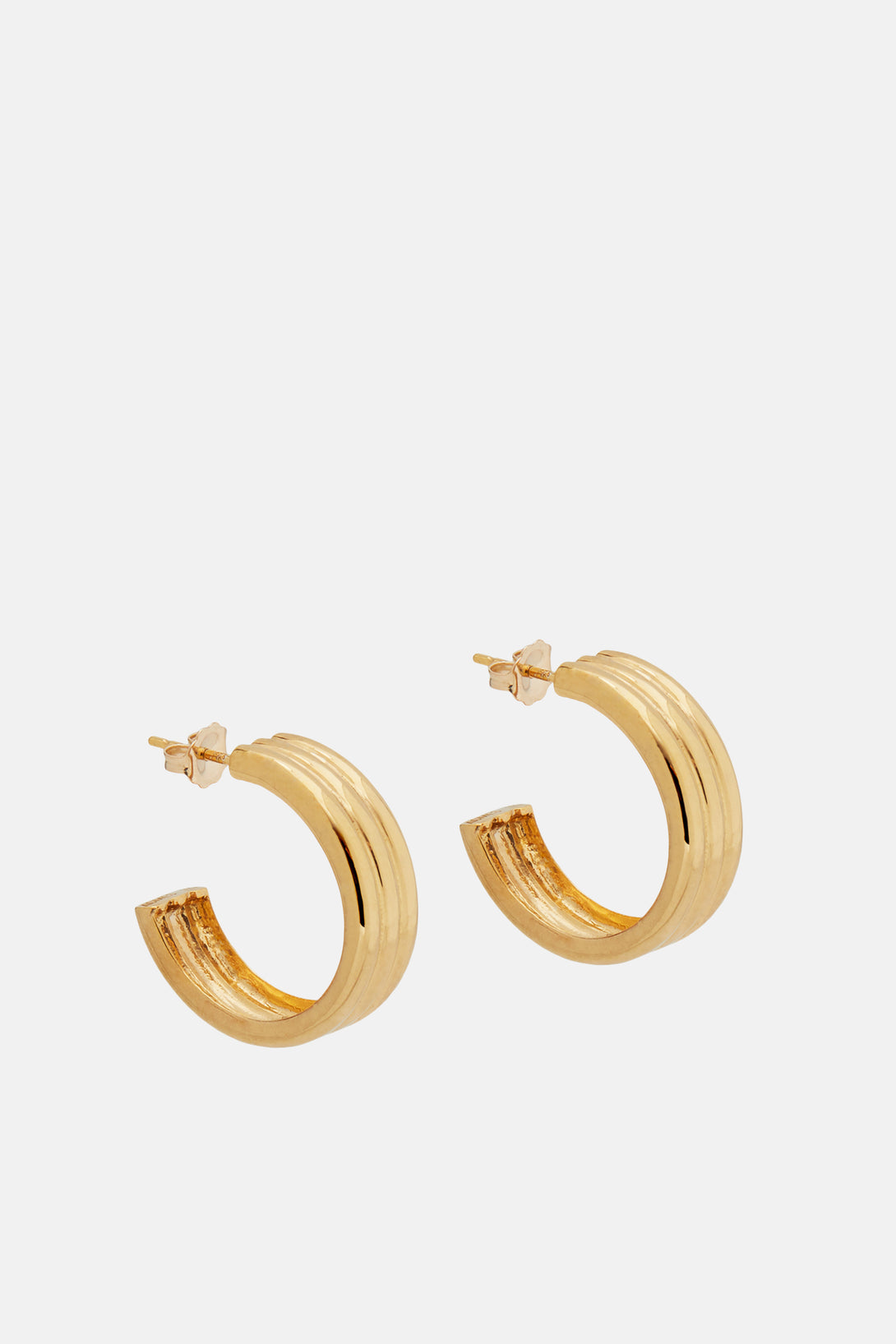 Medium Triple Ridge Hoops - Gold Vermeil
