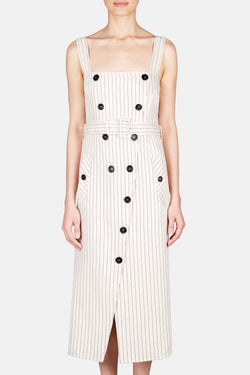Audrey Tie Waist Striped Button Dress - Sand