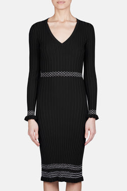 Isolde Ribbed Knit Dress - Black