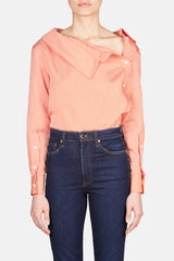 Eileen Asymmetric Collar Button Top - Persimmon