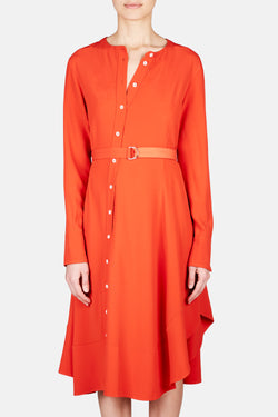 Baelle Asymmetric Button Shirt Dress - Persimmon