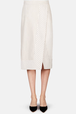 Jude Striped Slit Skirt - Sand
