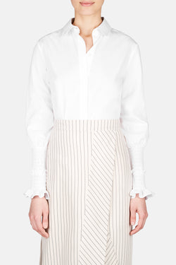 Jorda Smocked Sleeve Shirt - White
