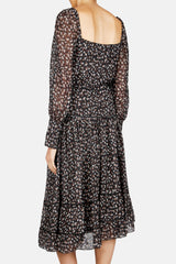 Lahiri Square Gathered Neck Cinched Dress - Black