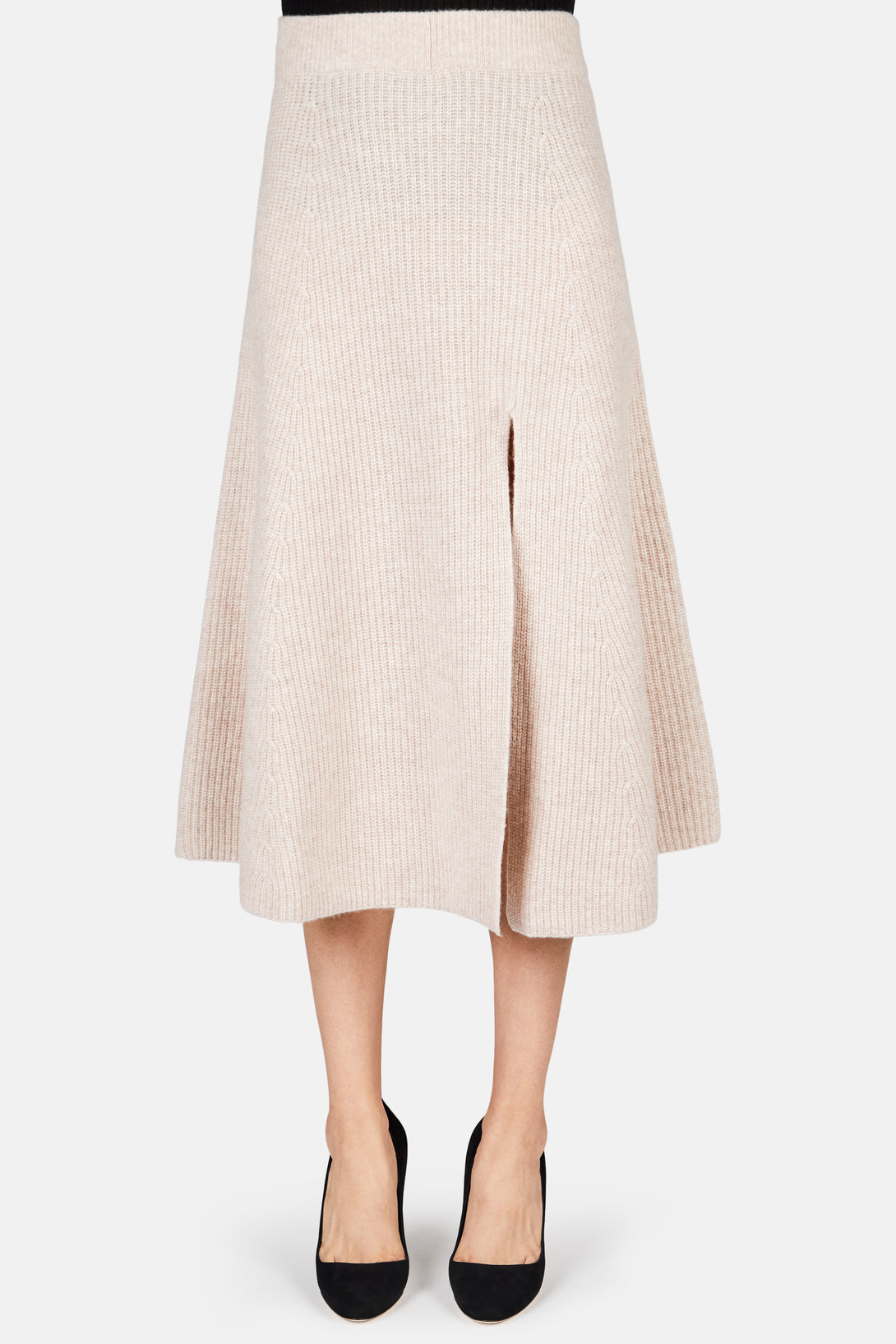 Cavin Knit Flare Midi Skirt - Almond