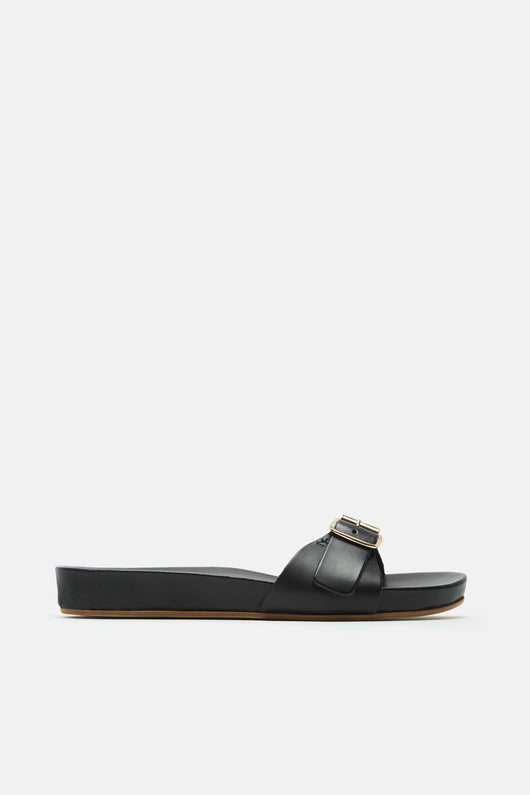 Dalia Buckle Strap Slide - Black
