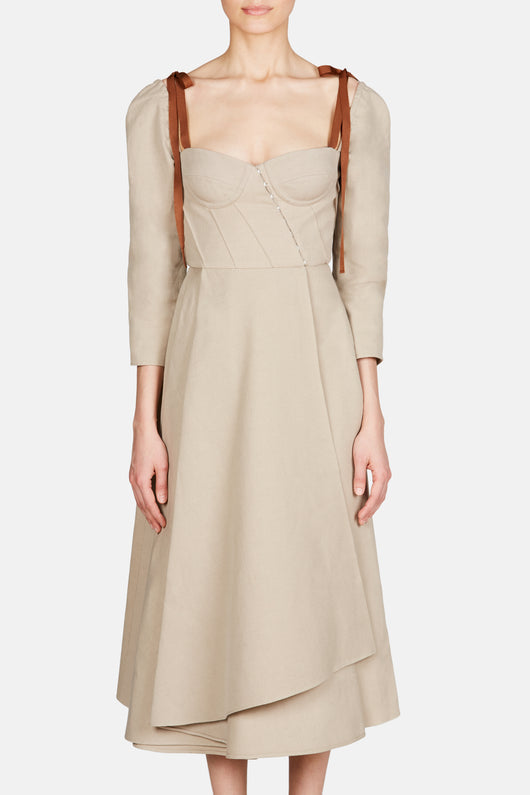 Devin Corseted Dress with Grosgrain Straps - Oatmeal