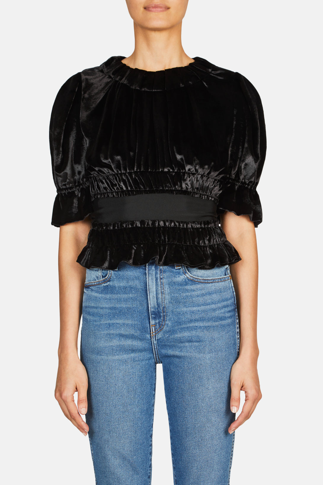 Tammy Pleated Top with Grosgrain Waistband - Black