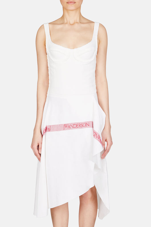 Tea Towel Linen Bodice Dress - White