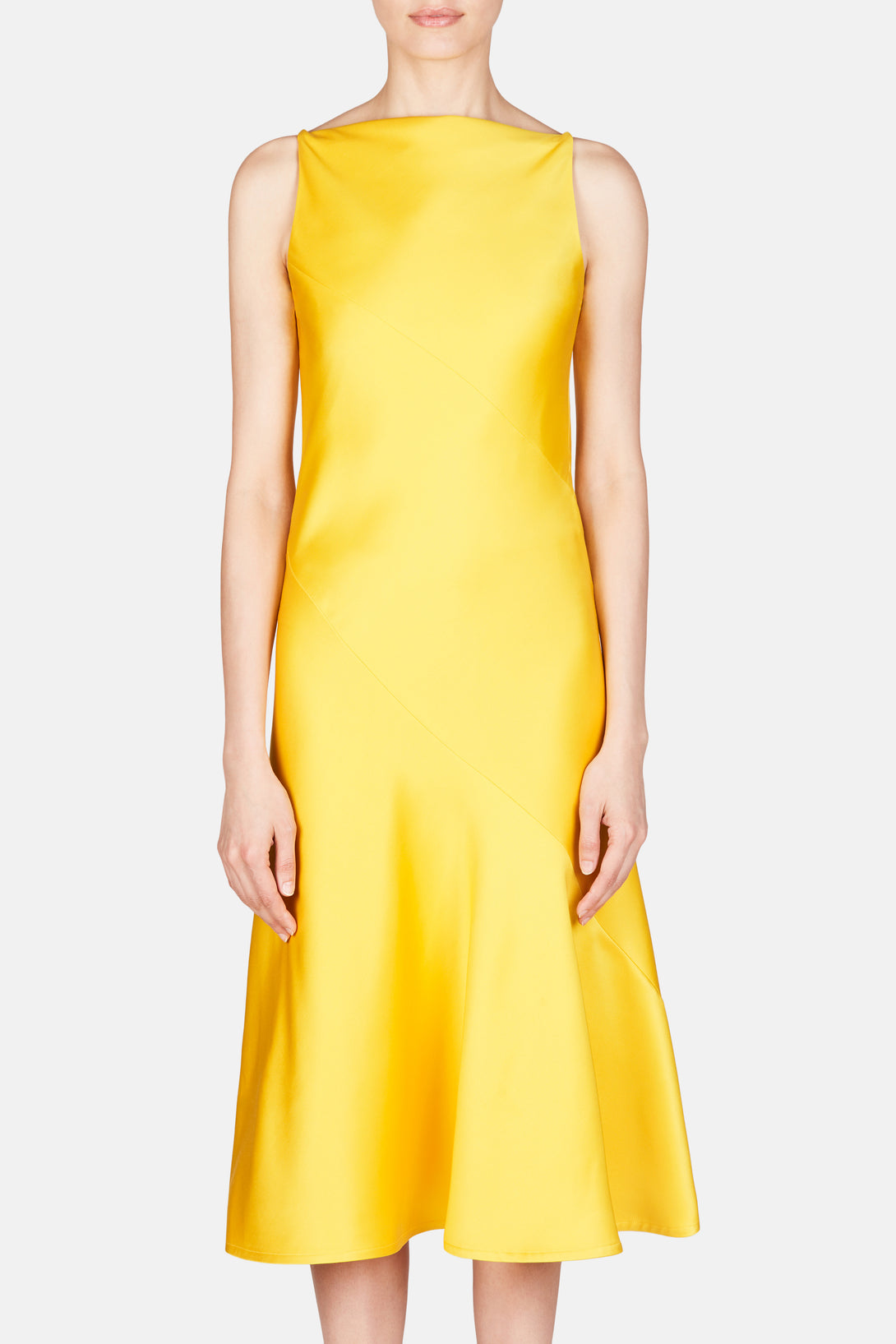 Silk Wool Heavy Satin Dress Yellow The Line