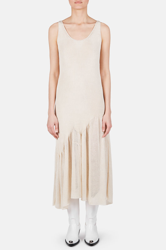Sleeveless Asymmetric Hem Knit Dress - Ivory