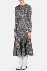 Long Sleeve Gathered Waist Printed Dress - Washed Daisy